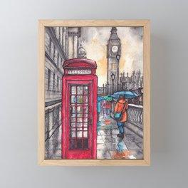 Rainy day in London ink & watercolor illustration Framed Mini Art Print