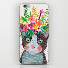 Cat with flowers iPhone Skin