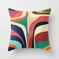 map Throw Pillows featuring Impossible contour map by Picomodi