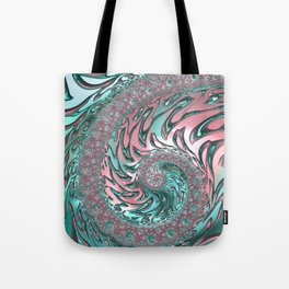 Coral and Teal Spiral Tote Bag
