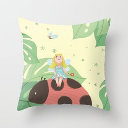 Girl On Ladybug Throw Pillow