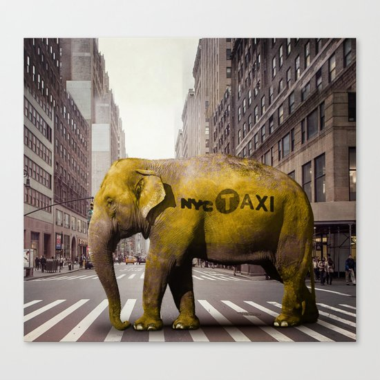 Elephant Taxi NYC Canvas Print