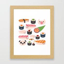Kawaii sushi white Framed Art Print