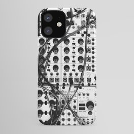 analog synthesizer system - modular black and white iPhone Case