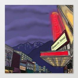 Granville Street at Night Canvas Print
