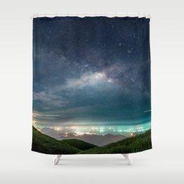 Milky Way over Hong Kong Lights Shower Curtain