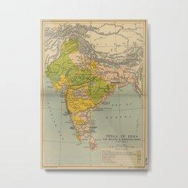 Vintage India Maratha and Mysore War Map (1804) Metal Print