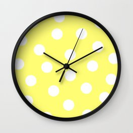 Polka Dots - Lemon and White Wall Clock