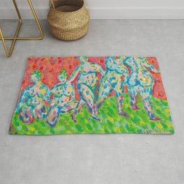 Women Bathers (Acrylic Painting) Rug