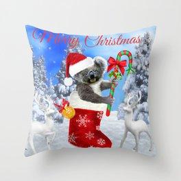 Baby Koala Christmas Cheer Throw Pillow