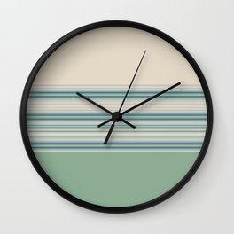 Mint Green Cream Stripes Wall Clock
