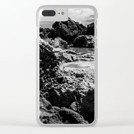 Landscape of sea rocks and sand. Clear iPhone Case