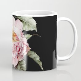 Wilting Pink Rose Watercolor on Charcoal Black Coffee Mug