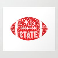 ohio state Art Prints featuring Ohio State Football by Kasi Turpin