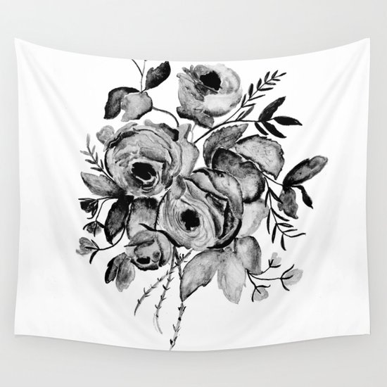 GREYSCALE ROSES Wall Tapestry