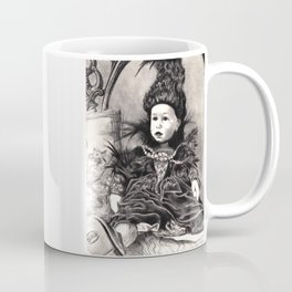 Madamme Darkness, Queen of the Night, Creepy Doll pencil portrait Coffee Mug