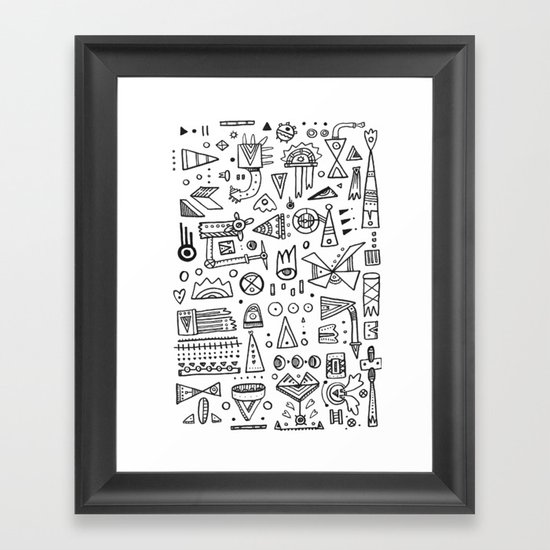 Triangle doodles Framed Art Print