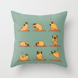 Pug Yoga Throw Pillow