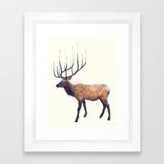 Elk // Reflect (Left) Framed Art Print