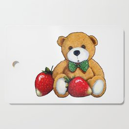 Teddy Bear With Strawberries, Illustration Cutting Board