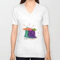 vegan V-neck T-shirts featuring Vegan by Viktorija Eziukas