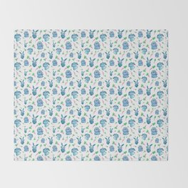 Blue Bunny Pattern Throw Blanket