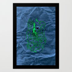 Love Squid with Paper Bag Art Print