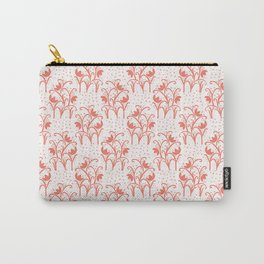 Peachy Living Coral Flower Blooms Carry-All Pouch