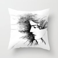 harry styles Throw Pillows featuring harry styles by vulpae