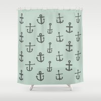 anchors Shower Curtains featuring Anchors by siobhaniaa