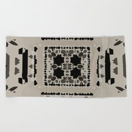 Beige and Black Perspective Beach Towel