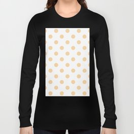 Polka Dots - Sunset Orange on White Long Sleeve T-shirt