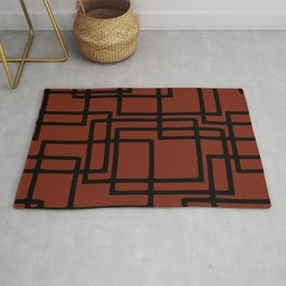 Retro Modern Black Rectangles On Old Rust Rug