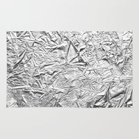 gold foil Area & Throw Rugs featuring Aluminum Foil by Patterns and Textures