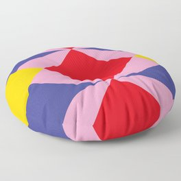 Two fly shaped wrestler's heads intersecating, making a beautiful red square in the center. Floor Pillow