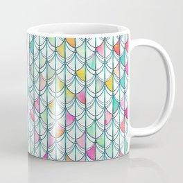 Pencil & Paint Fish Scale Cutout Pattern - white, teal, yellow & pink Coffee Mug