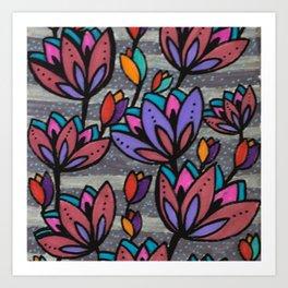 Cinza e Roxo Art Print