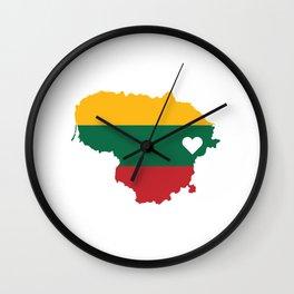 Love Lithuania Gift Lithuanian Pride Heart Wall Clock