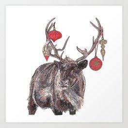 Reindeer with Baubles Art Print