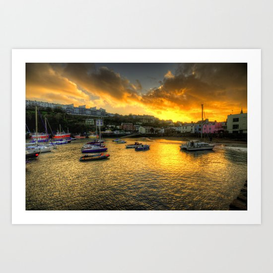 Sunset over Ilfracombe Harbour  Art Print