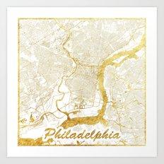 Philadelphia Map Gold Art Print