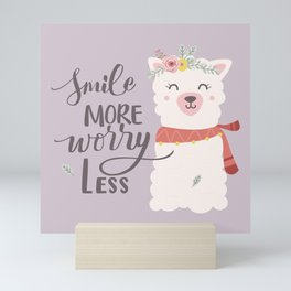 SMILE MORE, WORRY LESS! - Sweet lavender quote Mini Art Print