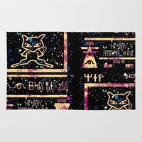 mew Area & Throw Rugs featuring ancient mew by HiddenStash Art