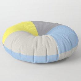 Yellow Pastel Blue Gray Geometric Minimal Design Floor Pillow
