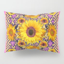 Pink Color & Yellow Sunflowers Garden Pattern Art Pillow Sham