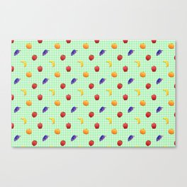 Cute Fruit Green Gingham Canvas Print