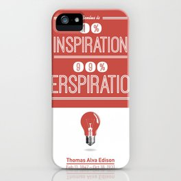 Lab No. 4 - Thomas Alva Edison Quote typography print Inspirational Quotes Poster iPhone Case