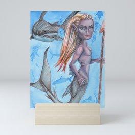 Simon Sharktail Original Merman Mermaid Fantasy Art Painting Shark by Laurie Mini Art Print