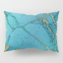 Electric Blue Marble Pillow Sham
