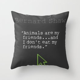 George Bernard Shaw quote about vegetarian Throw Pillow